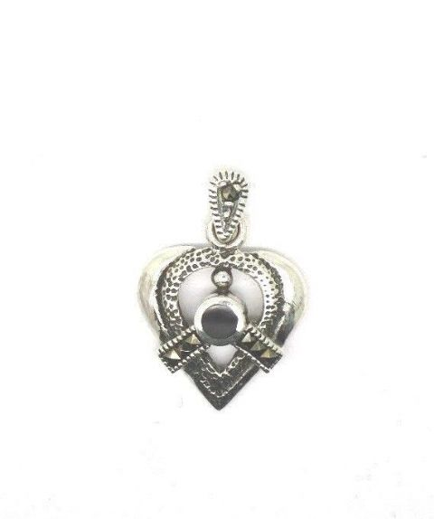 Sterling Silver 925 Vintage Marcasite and Onyx Stone Set Heart Shape Pendant
